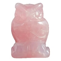1 5 inch natural stone rose quartz owl figurines mini animals craft carved mineral healing crystals statue for kids home decor
