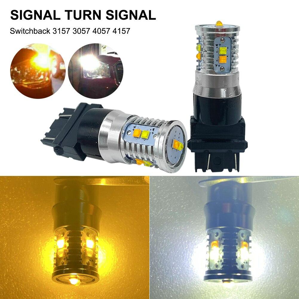 2 цвета автомобильная светодиодная лампа 3157 3057 4057 4157 сигнал поворота DRL лампа белый янтарь двухцветная 12-24 в лм автомобильная лампа для фар а...