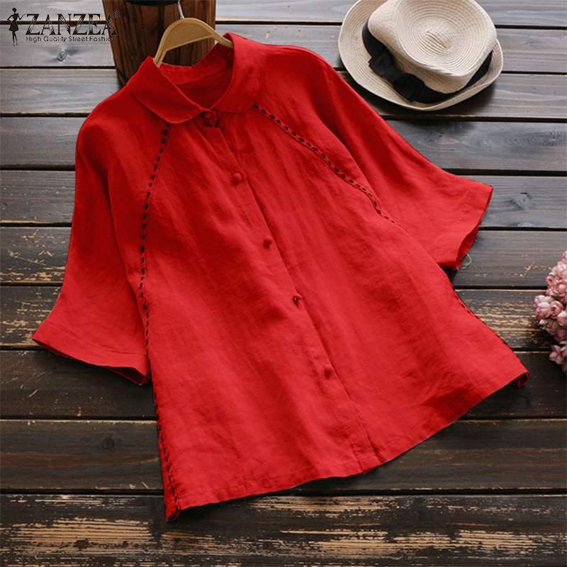 2020 zanzea mulheres 3/4 manga blusa outono elegante sólido algodão trabalho ol camisas casual turn down collar túnica tops famele blusas
