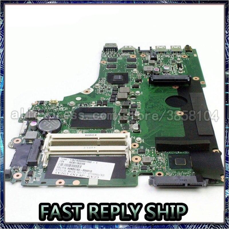 SHELI para ASUS K750JB F750JB A750J A750JB X750JB Placa base con i7-4700HQ cpu GT740M tarjeta de vídeo
