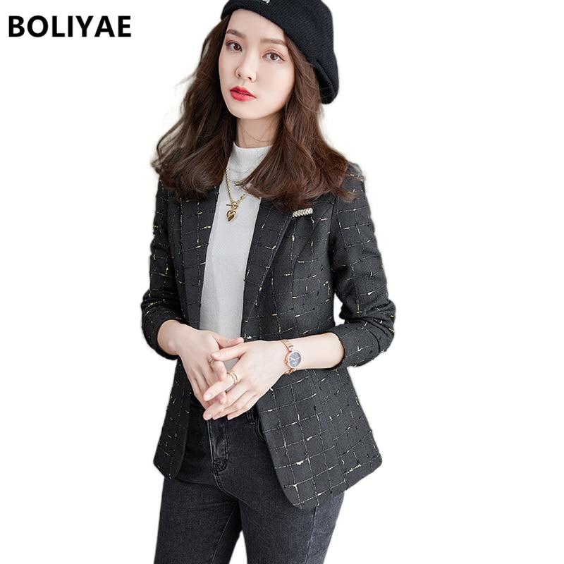 Новинка Осень-зима, клетчатый Блейзер Boliyae с длинным рукавом, женские модные черные приталенные куртки, женские повседневные офисные топы, п...