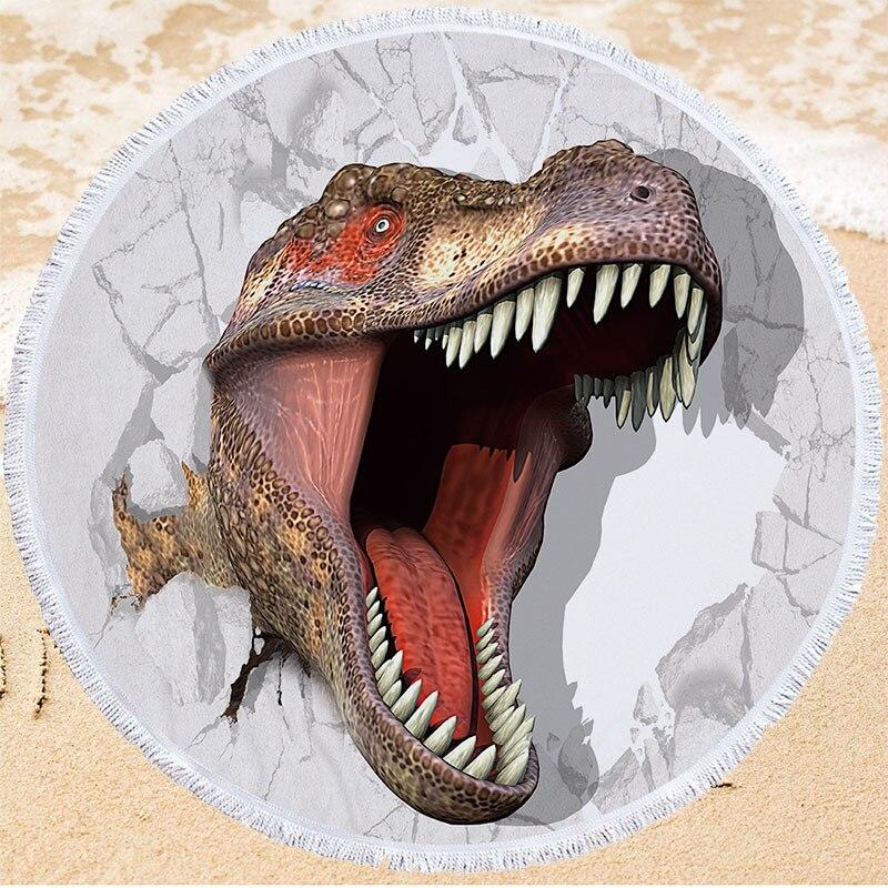 ديناصور سلسلة منشفة الشاطئ المستديرة لينة ستوكات السباحة منشفة استحمام 150 سنتيمتر جولة الصيف الشاطئ منشفة اليوغا حصيرة