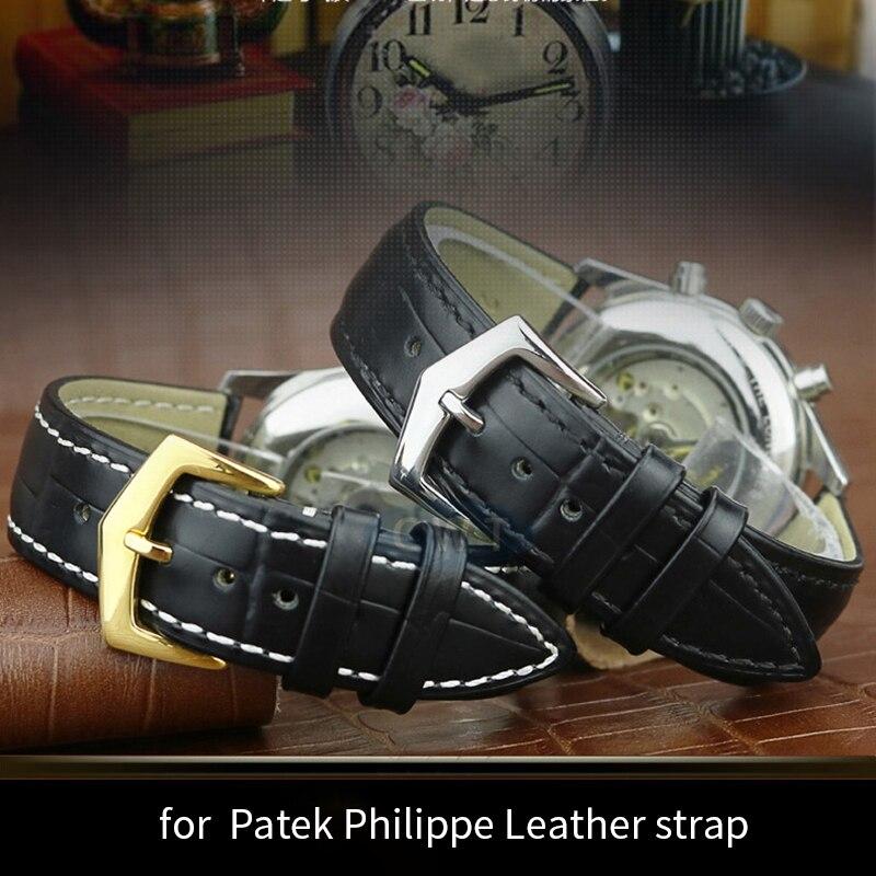 Shengmeirui para patek philippe relógio de couro pulseira masculina e feminina com pino fecho 18mm 19mm 20mm 21mm