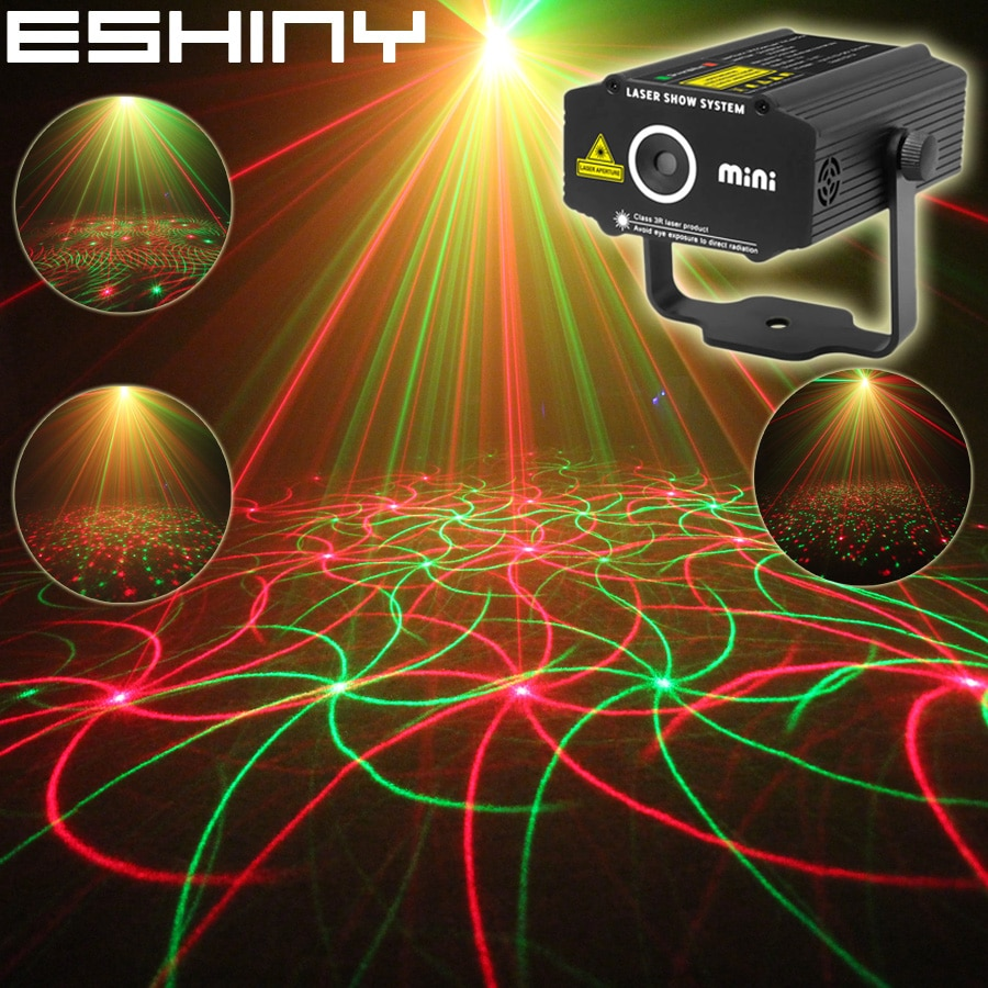 ESHINY Mini 4in1 4 أنماط دوامة R & G جهاز عرض ليزر الإضاءة المرحلة ديسكو DJ نادي KTV عيد الميلاد بار الأسرة كشاف إضاءة للحفلات تظهر P17