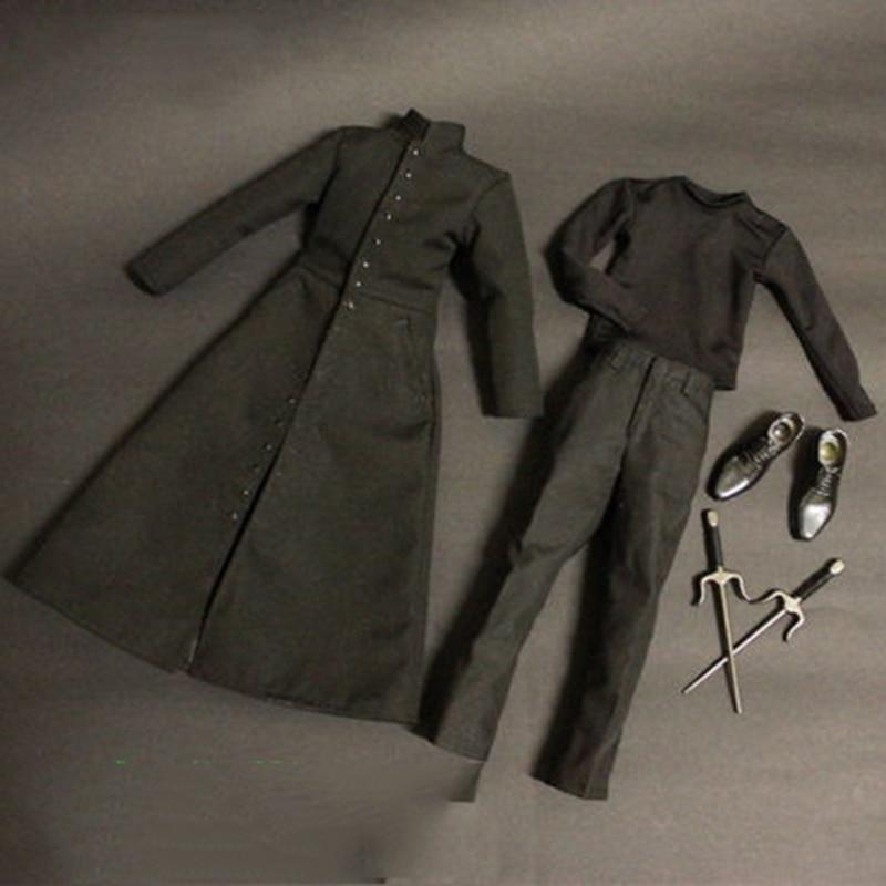 В наличии 1/6 весы мужская одежда Matrix NEO Keanu Reeves черное пальто костюмы обувь и аксессуары