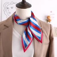 2020 new stripe print women silk scarf small handle bag ribbons female neckerchief head scarves hair band black foulard 9010cm