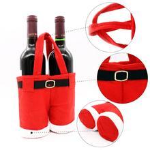 Sachet de bouteille de vin 1 pièce   Joli joyeux noël, chocolat, pantalons père noël, pochettes cadeaux, fourniture de décoration de noël