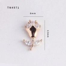 5 teile/los TN4971 Rose Blume Legierung Zirkon Nail art Kristalle nagel schmuck Strass nägel zubehör liefert dekorationen charms