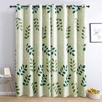 Topfinel Green Leaf Modern Blackout Curtains For Living Room Window Treatment Blinds For Bed Room Finished Drape Home Decoration