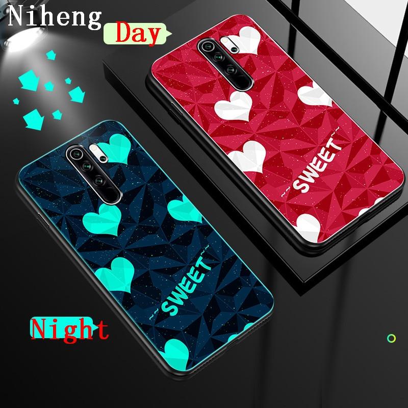 Cubierta trasera luminosa Niheng, funda de teléfono acrílica de silicona suave para Xiaomi Redmi Note 8 Pro Mi 9 10 Pro 5G, bolsa Red Sweetheart