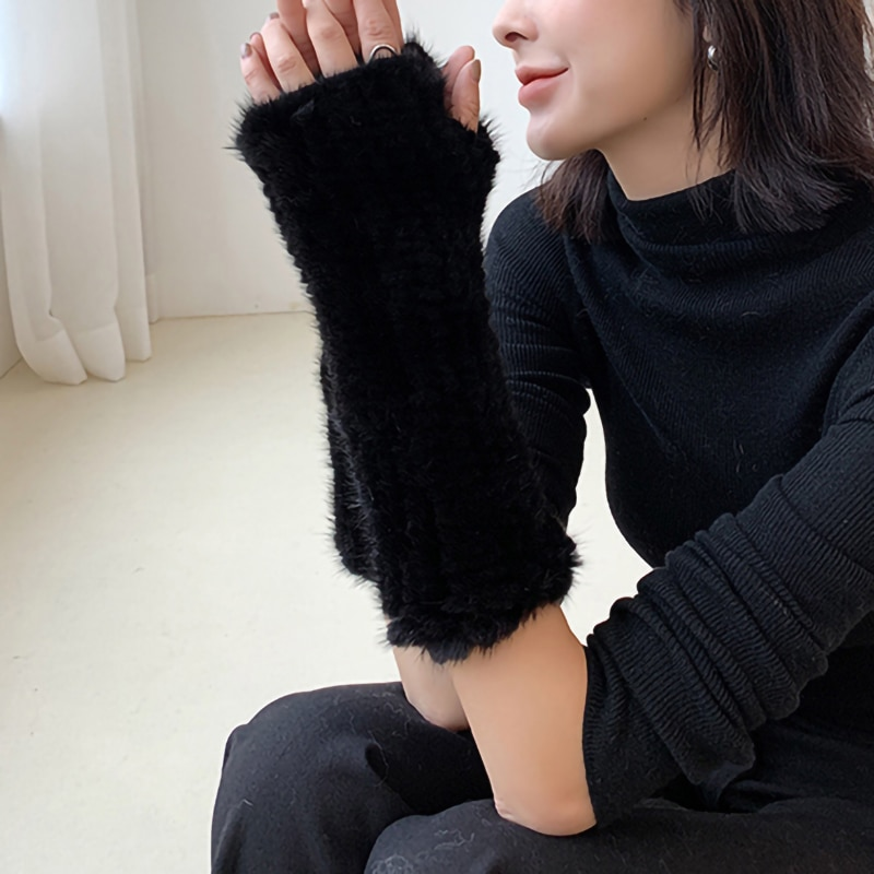 2021 New Arrivals Real Mink Fur Gloves Women Long Gloves Top Quality Winter Warm Mittens Protection