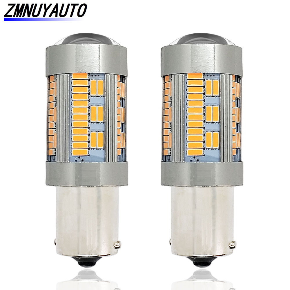 2 uds 1156 bombilla LED No hiperflash CANBUS LED BA15S BAU15S 4014 105SMD 12V blanco amarillo P21W PY21W Luz de marcha atrás del coche