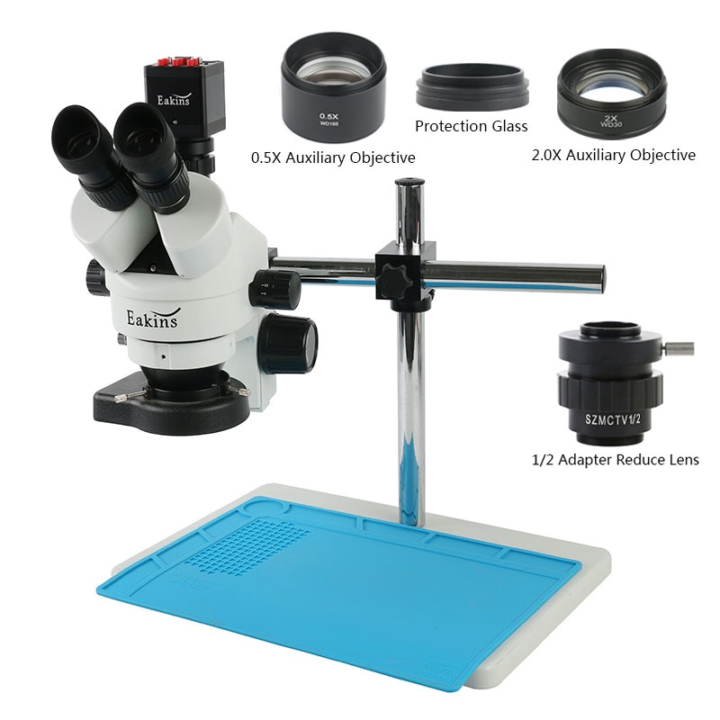 Get 3.5X-90X Simul Focal Trinocular Stereo Microscope 1080P HDMI VGA Digital Camera LED Lighting For IPhone Repair Soldering