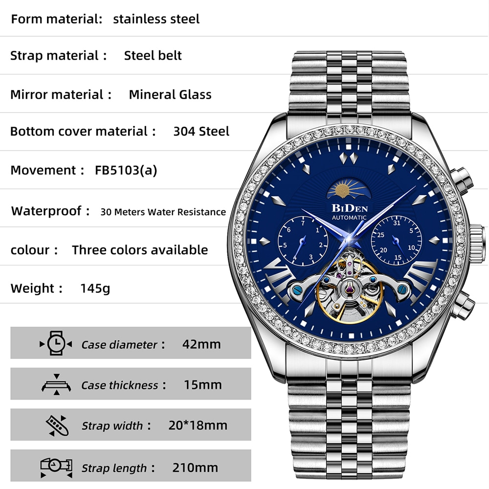New Hollow Mens Watches Top Luxury Multifunction Waterproof Mechanical Watch For Men Moon phase Automatic Tourbillon Steel Clock enlarge