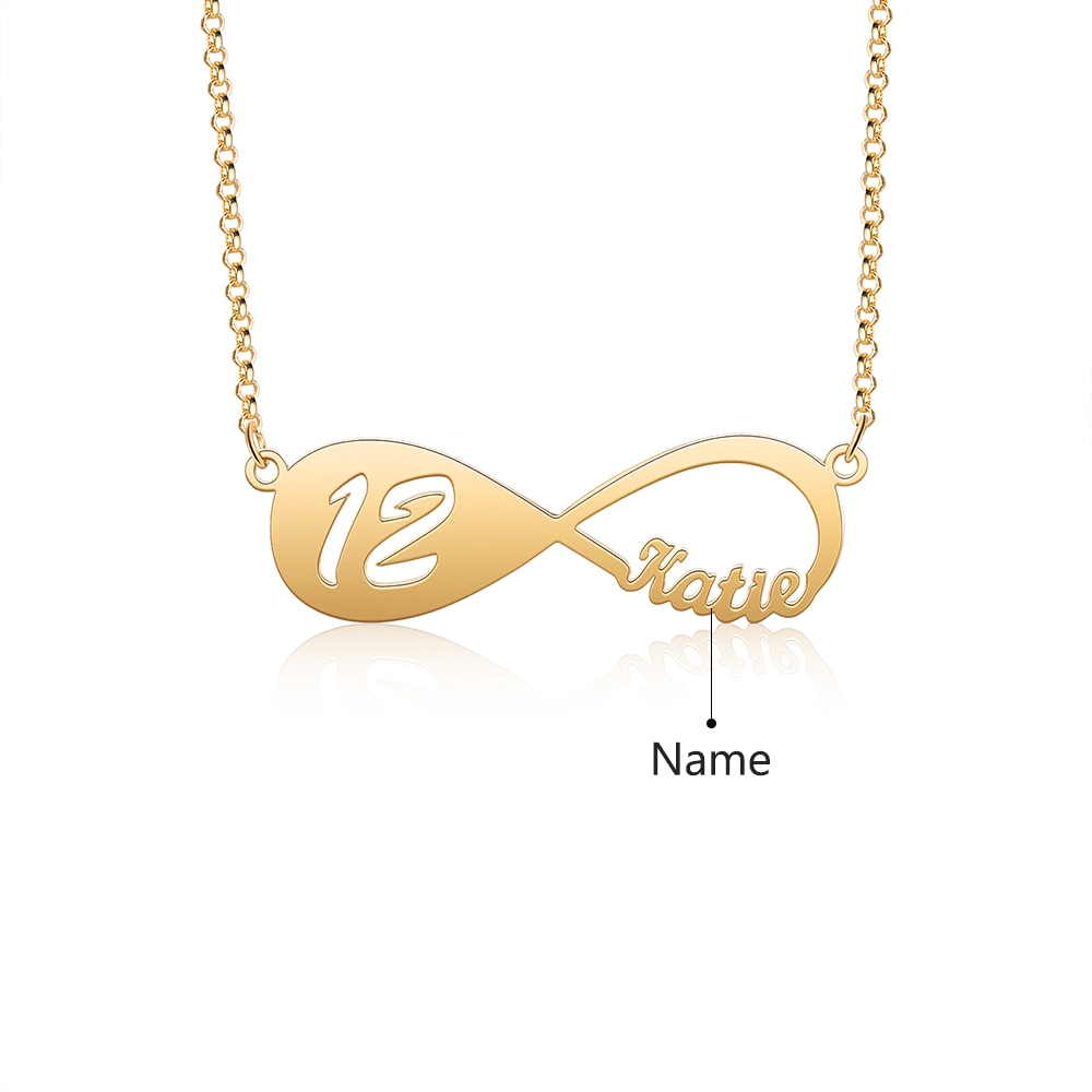 Designer Personalized Name Infinity Necklace with 12-18 Year Old Numbers Age Custom Nameplate Pendant Necklace Birthday Gift