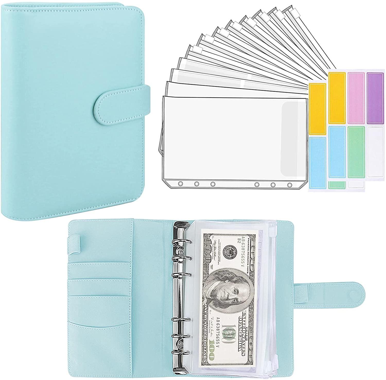 15 Pieces Binder Budget Planner Cash Envelope Binder with Budget Envelopes A6 Binder Pockets Cash Envelope Wallet for Budgeting