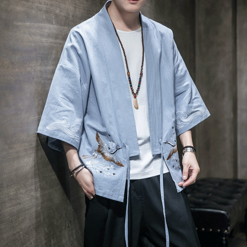 De los hombres de moda Kimono vestido de novia estilo chino Hanfu Kung Fu Cardigan grúa bordado Tang traje té arte blusa japonés Haori abrigos
