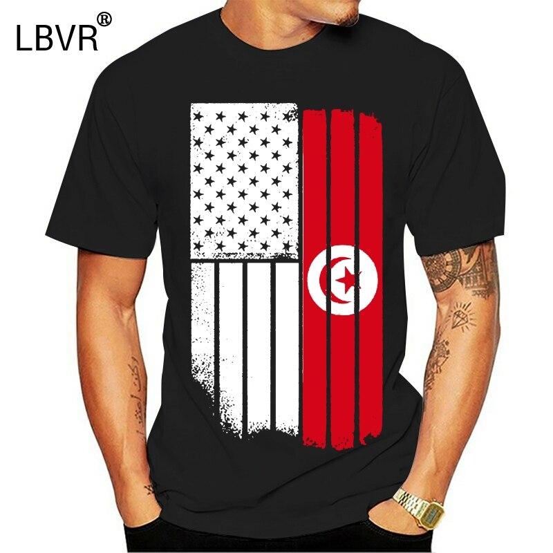 Camiseta con estampado de bandera americana Tunecina de EE. UU. Camiseta de la bandera de Túnez para hombre 2020 nueva Camiseta con estampado de moda camiseta de talla grande