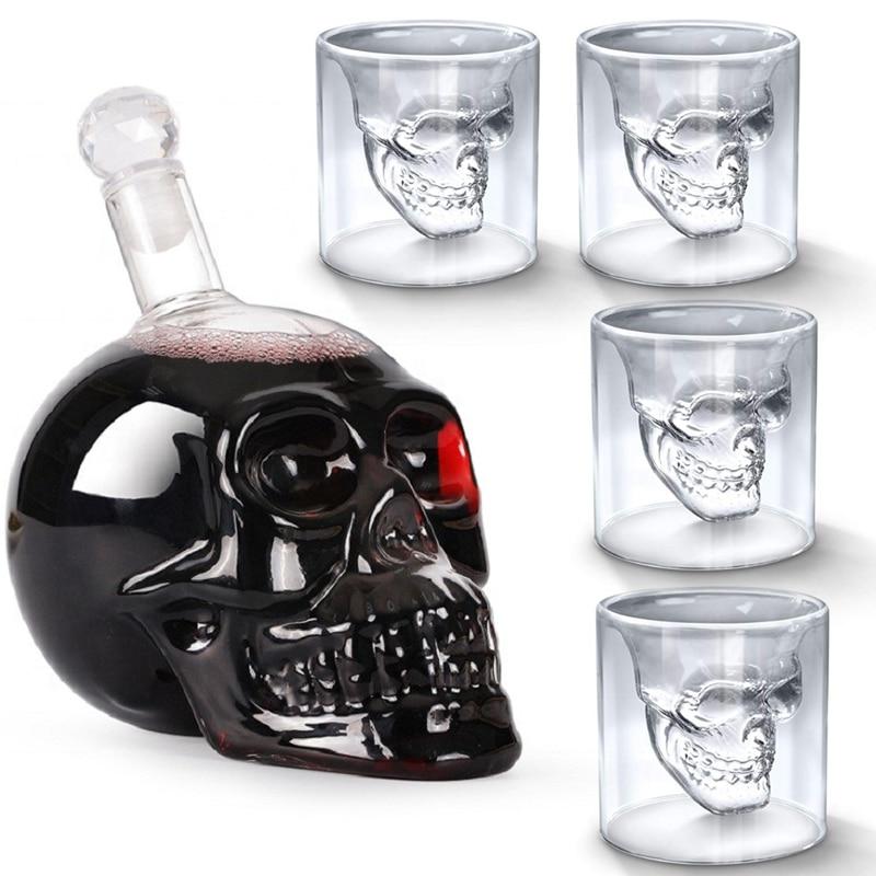 Vodka Skull Bottle Glasss Cup Crystal Glass Decanter Skull Head Shot Bar Home Drinking Spirits Wine Whiskey Gifts Glasses Cups