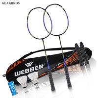 2pcs Professional Badminton Rackets Set Family Double Badminton Game Racquet Light Weight Playing Trainning Badminton Raquette