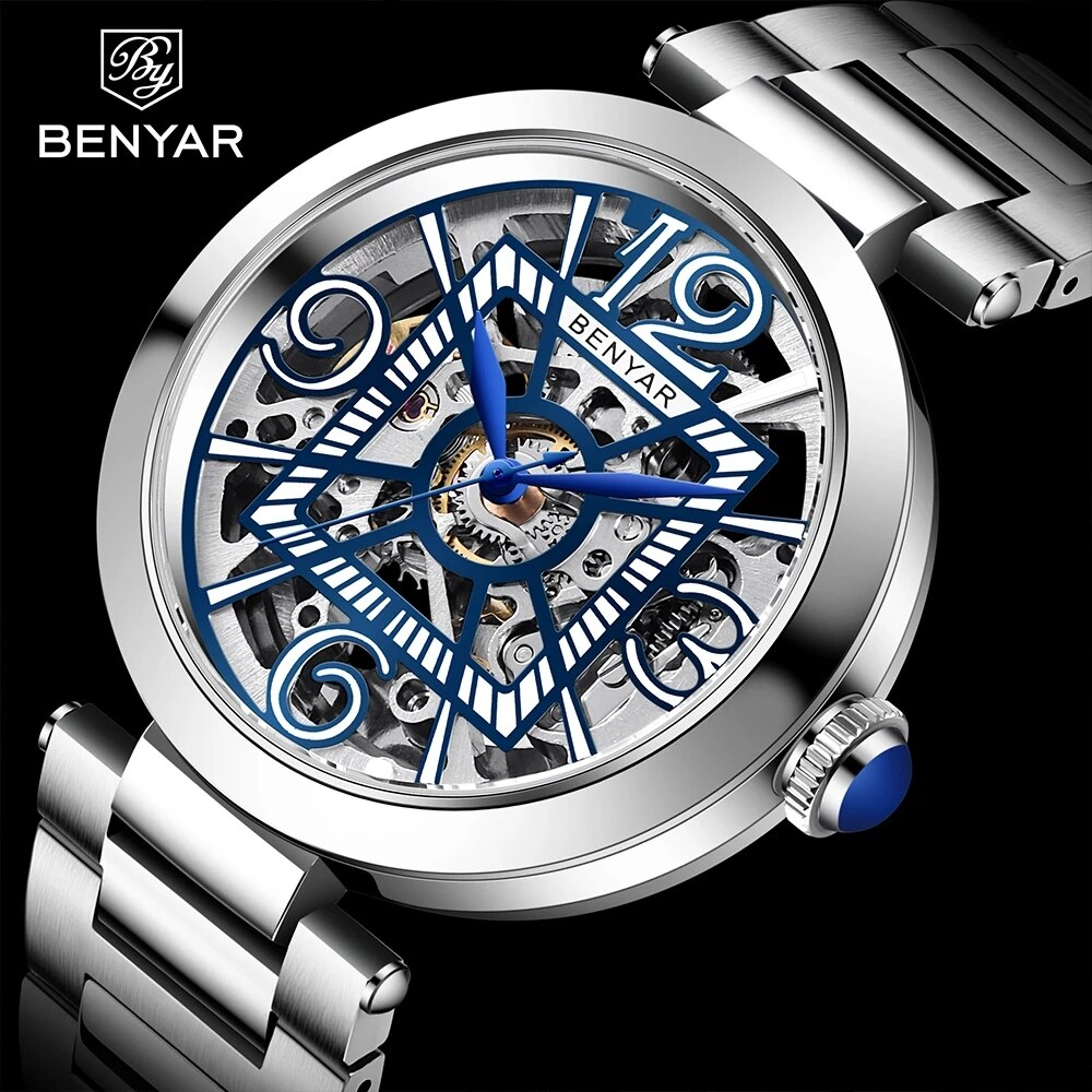 BENYAR Skeleton Watch for Men Mechanical Automatic Watches Top Brand Luxury Design Stainless Steel Water 50M Relogio Masculino