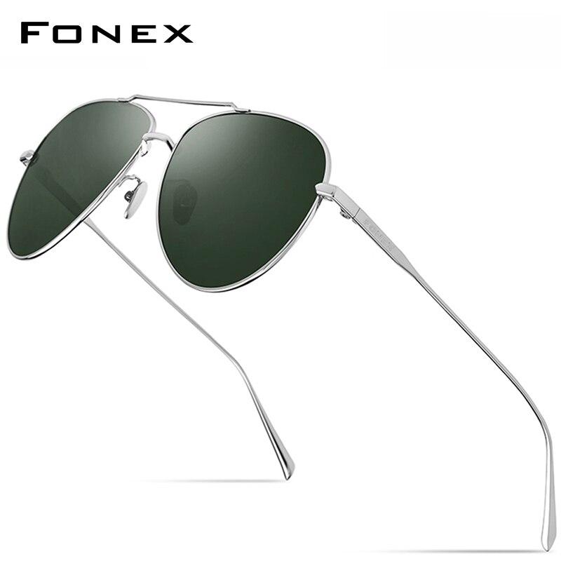 FONEX-نظارات شمسية مستقطبة من التيتانيوم الخالص للرجال والنساء ، نمط طيران ، جودة عالية ، UV400 ، 8507