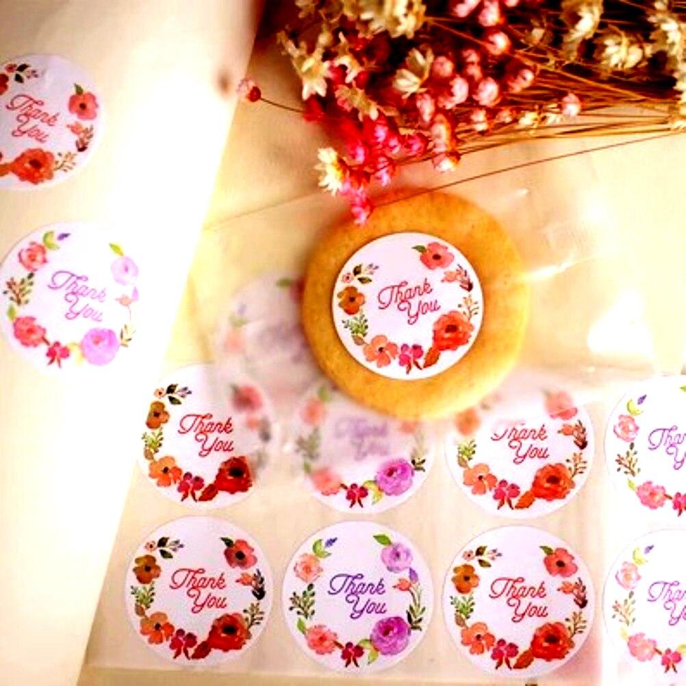 120 Uds. Etiqueta autoadhesiva de sellado de flores rosas etiqueta adhesiva Kraft pegatina sello de hornear regalo Pegatinas artesanales papel