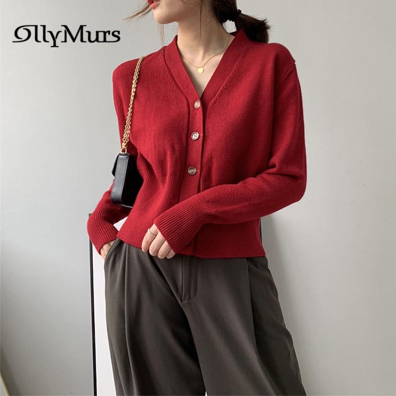 Suéteres de punto de un solo pecho KM025 lana Lisa Chaquetas de punto para mujeres 2020 Casual moda Outwears moda Otoño suéter