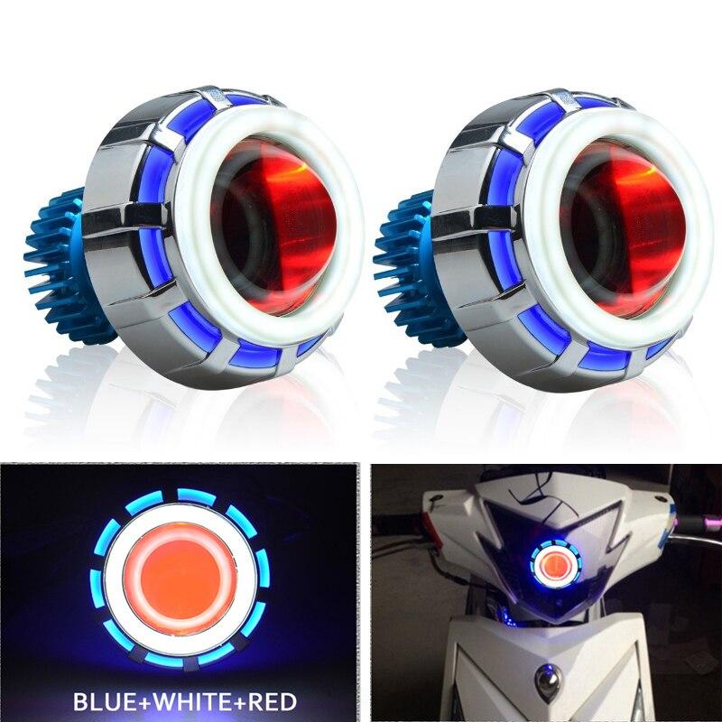 18W 2.5 inch LED Projector Lens Headlamp Kit with Blue Angel Eagle Red Devil Eye for Styling Fog Light Retrofit Moto Headlight
