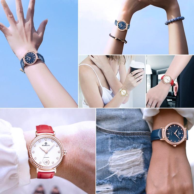 STARKING Brand Dress Women Watch Stainless Steel Bracelet Gold Ladies Wristwatch Automatic Mechanical Self-wind Watch Waterproof enlarge