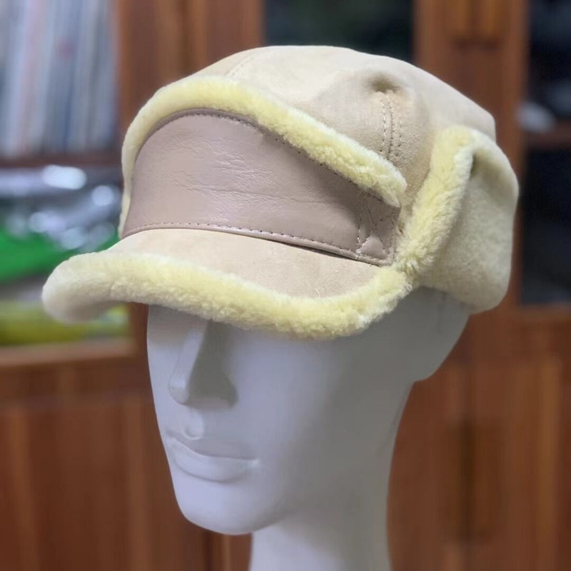 Winter Warm Fur Hat Men Women 100% Fur Military Hats One Soft  Female Fleece Portable Windproof Bean