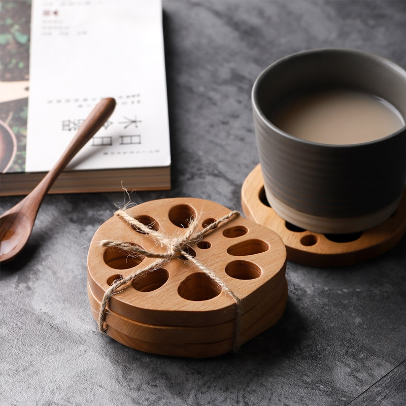 Musowood-كوستر كريب من خشب الجوز الصلب ، للشاي والقهوة ، المفارش المزخرفة ، مقاومة للحرارة ، حصيرة المشروبات