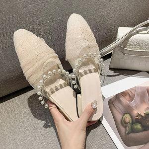 Modern Slippers Mesh String Bead Pearl Muller Shoes Flats Sandals Middle Heel Half Slippers Summer Women's Shoes Flip Flops Slid