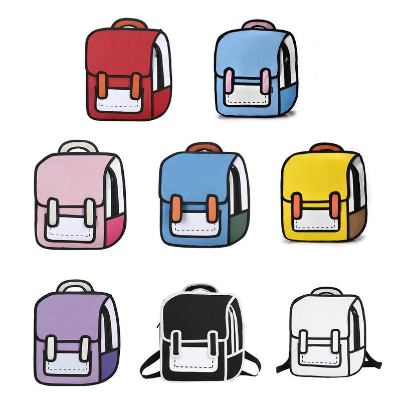 Mode Unisex 2D Zeichnung Rucksack Nette Cartoon Schule Tasche Comic Bookbag für Teenager Mädchen Jungen Daypack Reise Rucksack Tasche