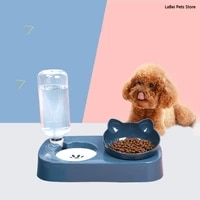 pet supplies automatic drinking fountain cat dog food bowl feeder container storage neck guard non slip double adjustable angle