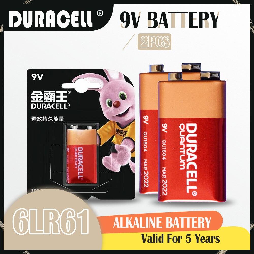 2 pçs novo original duracell alcalina bateria 9v 6f22 6lr61 ppp3 mn1604 para microfone multímetro walkman campainha barbeador