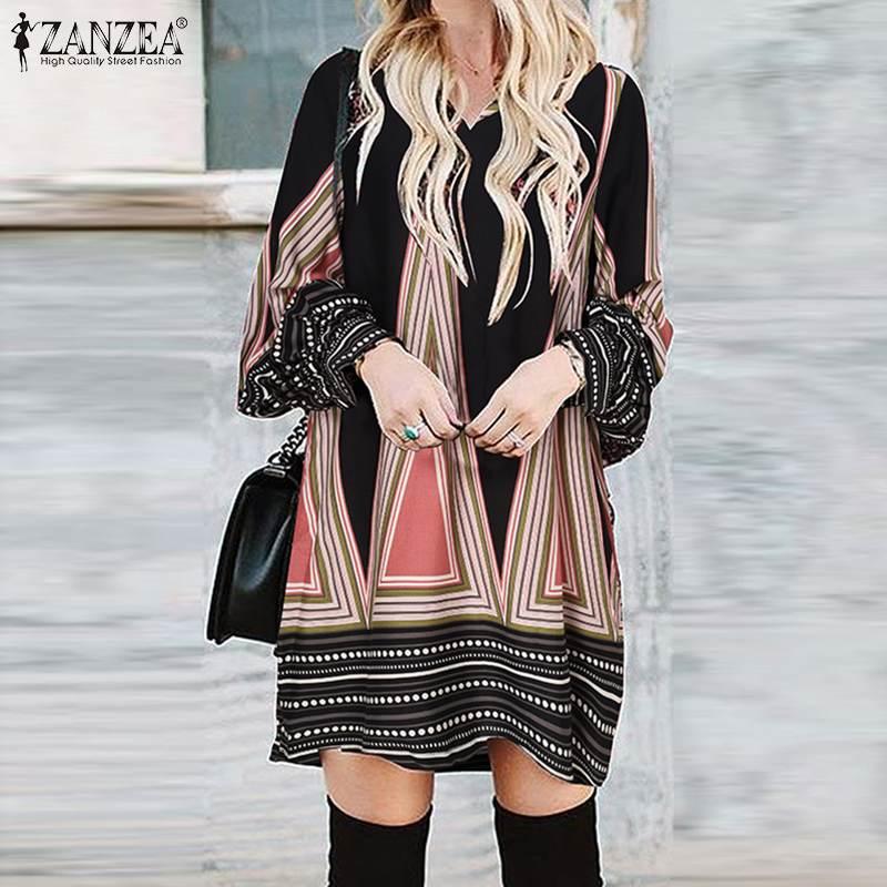 Летний сарафан ZANZEA с V-образным вырезом и длинным рукавом, винтажное пляжное праздничное мини-платье с цветочным принтом, богемное короткое платье большого размера