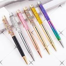 Bolígrafo 20 piezas punta redonda barril superior con polvo de cristal o papel dorado brillo bolígrafo con líquido flotante Oficina estudiante escritura pluma