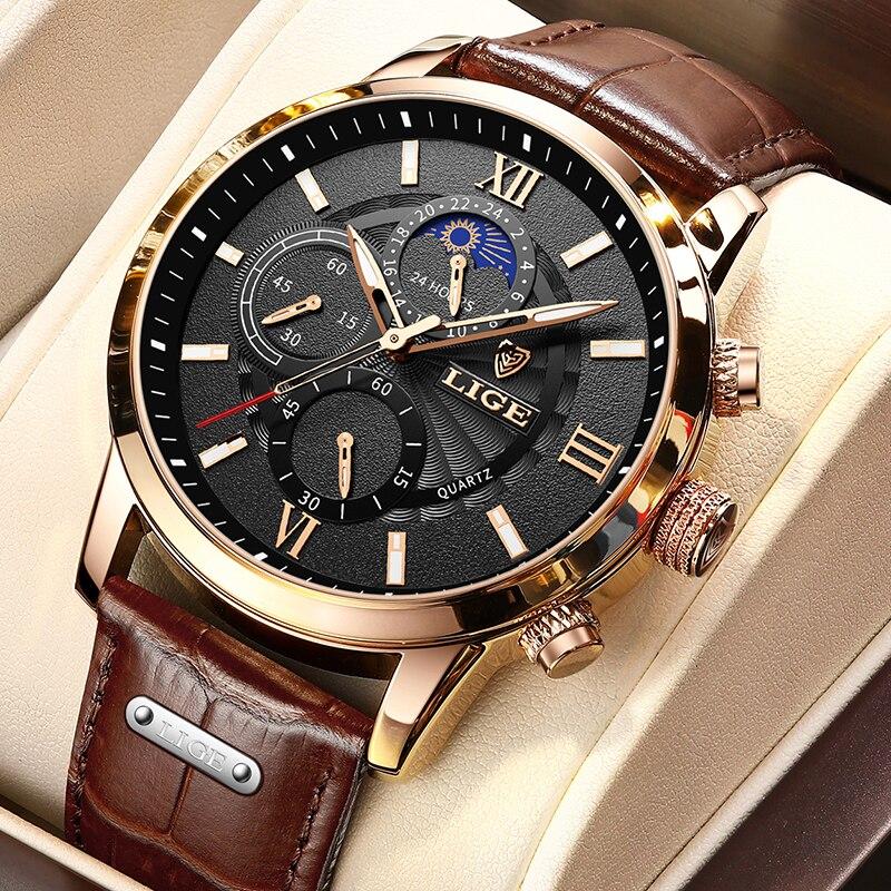 2021 LIGE Men's Watches Top Brand Luxury Men Wrist Watch Leather Quartz Watch Sports Waterproof Male