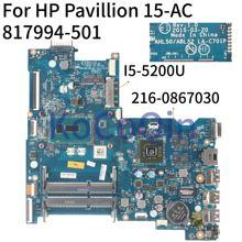 KoCoQin placa base para portátil HP pabellón 15-AC 250 G4 I5-5200U placa base AHL50/ABL52 LA-C701P 817994-001 817994-501 SR23Y