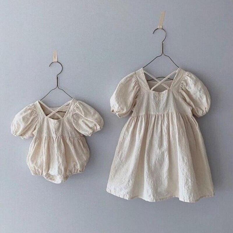 2020 Summer Kids Party Dresses Baby Girls Clothes Blouses Dress Casual Cross Cotton Linen Short Sleeve Princess Dress
