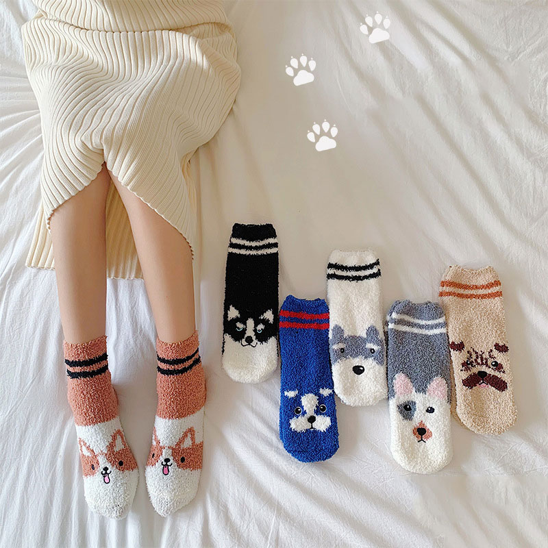 Cute Lovely Coral Fleece Floor Socks Cartoon Animals Dog Printed Hosiery Middle Tube Socks For Women Girls Winter Sleeping Socks