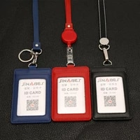 pu rope real pickup leather work id card set bus card bag chest card hanging badge holder retractable