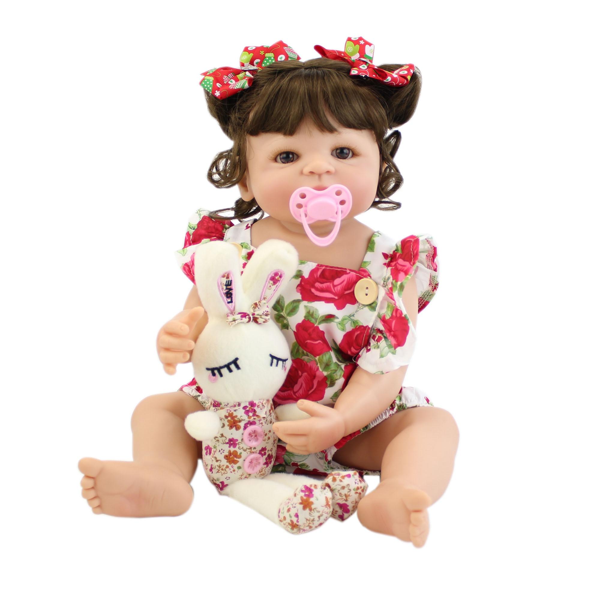 55cm Full Silicone Body Reborn Girl Doll Toy Soft Vinyl Newborn Babies Bebe Bathe Accompanying Toy