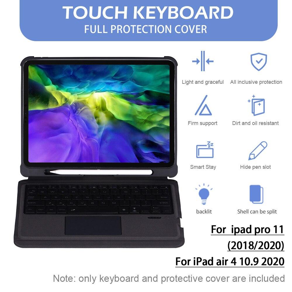 لوحة مفاتيح بلوتوث لاسلكية صغيرة محمولة مقاوم للماء لوحة المفاتيح مع الخلفية لباد برو 11 2018/2020/باد الهواء 4 10.9 2020