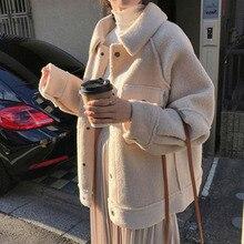 Lamb Wool Coat Women Thickened 2021 Autumn And Winter New Loose Plush Jacket Tops Korea Ladies Coat