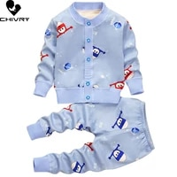 2pcs newborn baby knitted clothes set autumn winter toddler boys girls cartoon cardigan sweater jackets with pants clothing sets