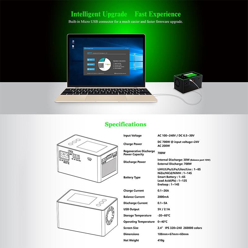HOTA H6 Pro AC200W / DC700W 26A Smart Balanced High Power RC Charger Lipo NiMh Li-ion Ni-Cd Digital RC Charger enlarge