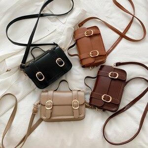 New Handbag 2021 Women's Bag Retro Belt Buckle Small Square Bag Textured One-Shoulder Bag Factory Direct Western Style Messenger