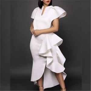 Irregular Dresses Women White Ruffles Sexy Bodycon Evening Party Night Dinner Ankle Length Dress Plus Size Occasion Event Robe